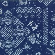 Nordic Stitches by Wenche Wolff Hatling - 5397- Fairisle Knit Winter Sampler, White on Dark Blue  - 39710 15 - Cotton Fabric